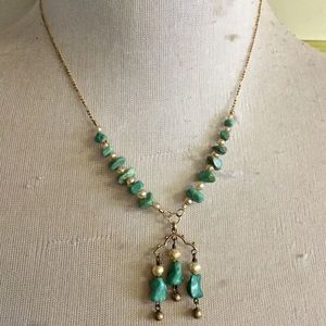 Turquoise stone and gold fill necklace 17 Inches